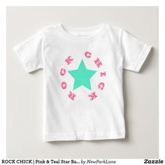 ROCK CHICK   Pink & Teal Star Baby Jersey T-Shirt