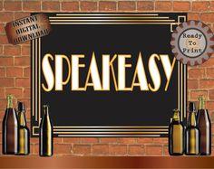 Booze Poster 16X20 Roaring 20s Prohibition Era Art Deco Printable Gatsby Party Gold Black Wedding Bar Sign Speakeasy Bar Front Door Sign
