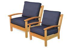 Navy Deep-Seating Club Chairs, Pair | Regal Teak