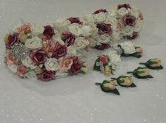 White, Burgany & Apricot Rose Wedding Bouquets Set - Veronica