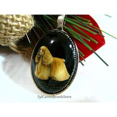 Hand Painted Cameo American Cocker Spaniel Dog Pendant SP Bezel... (€27) via Polyvore featuring sylcameojewelsstore