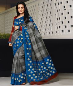 AMISHA PATEL GREY BLUE BHAGALPURI SILK  Shop Now:- http://www.shoppers99.com/bhagalpuri_art_silk/amisha_patel_grey_blue_bhagalpuri_silk_desig_t-661-839