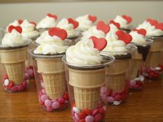 Valentine's day ice cream cone cupcakes with hearts and candy, treat snack for Valentine's day class party ideas