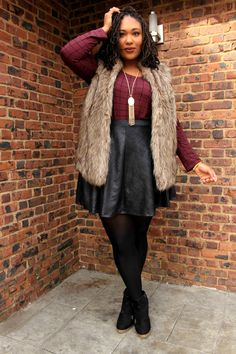 Plus Size Fashion for Women - Plus Size Outfit - Faux Fur Vest