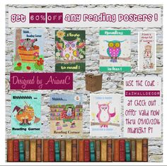 All reading posters are 60% OFF in my Zazzle store . All you have to do is use the coupon  code ZAZWALLDECOR at checkout . This offer is valid until April 10 , 2016 midnight Pacific Time . #teacherssupplies #sale #sale4teachers  #teachersdiscount #teacherssuppliessale