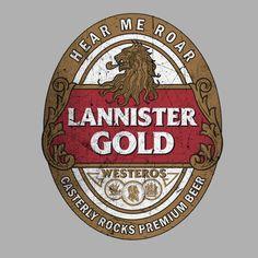 Camiseta Juego de Tronos. Casa Lannister etiqueta, estilo envejecido