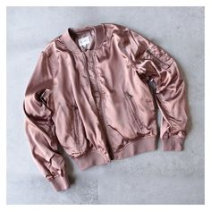 lightweight satin bomber jacket rose gold ❤ liked on Polyvore featuring outerwear, jackets, rose gold jacket, style bomber jacket, pink bomber jacket, lightweight bomber jacket and bomber style jacket