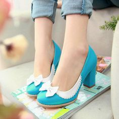 Spring/autumn dree women shoes bowtie square heel high heel shoes fashion popular sexy shoes for ladies large size NZJ916Q $25.99 - 29.99