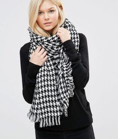 7X Dogtooth Oversized Scarf – Black/white. More Tall Clothing on PrettyLong.com