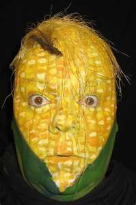 Corn on the cob face painting.  Kinda scary!