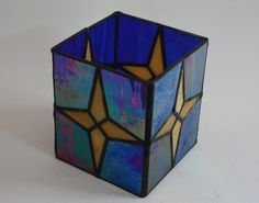 Windlight Star Blue / Stained Glass candle by WaenzinnigGlas