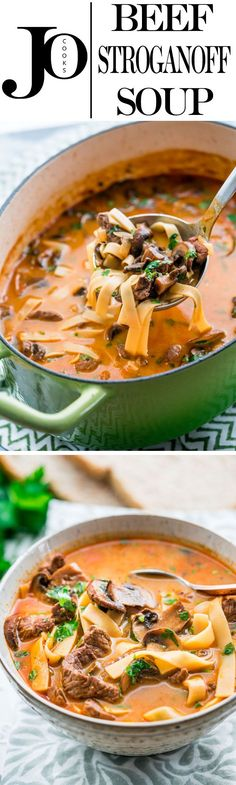 This Beef Stroganoff Soup takes all the rich and delicious flavors of Beef Stroganoff and transforms them into a one-pot 30-minute soup, full of tender beef and loads of noodles.