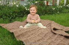 ABC Knitting Patterns - Lattice Baby Blanket///Bulky Wgt solid color yarn, 8 balls of 106 yds ea. - 10.5 needles/finished size 54x40