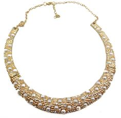 New Hot Selling Noble Gold Plated Rhinestone Pearl Beads Hoop Collar Necklace