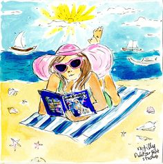 Lilly Pulitzer Illustration at the Beach Reading Lilly Pulitzer Prints, Lily Pulitzer, Summer Of Love, Summer Fun, Summer Days, Love Lily, Art Drawings, Illustration Art, Sketches