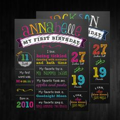 rainbow chalkboard poster sign printable, chevron chalkboard poster, first birthday sign, rainbow sign