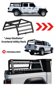 Check out our Jeep Gladiator Overland Utility Rack. It truly gives any Jeep that rugged offroad look; while providing true function as well. #jeep #jeep accessories