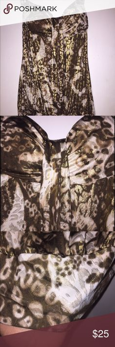 Strapless shirt/mini dress!! Strapless brown cream and gold pattern shirt or can be worn as a mini dress!! NEVER WORN! PERFECT CONDITION!! NWOT! carrie allen Dresses Mini