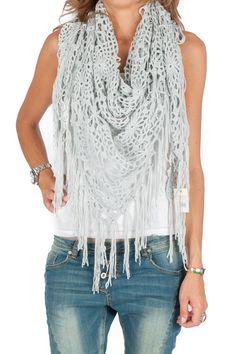Sjaal / Pareo blauw Crochet Scarfs, Crochet Hooks, Knit Crochet, Crochet Stitches, Mittens, Needlework, Om, Tutorials, Craft Ideas