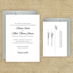Not what i want them to look like but showing that i only want 2 things in the invitation. the invitation itself and the rsvp card.  Simple Wedding Invitations Classic by EdenWeddingStudio on Etsy, $2.50