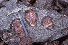 Big garnet crystals in metamorphic rock