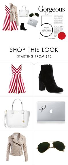 """""""Work day!"""" by cuteoutfitsxoxox ❤ liked on Polyvore featuring RED Valentino, Witchery, Michael Kors, Vinyl Revolution, Sans Souci and Ray-Ban"""