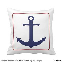 Nautical Anchor   Red White And Blue Outdoor Pillow