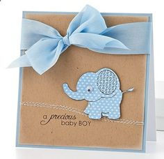 A precious Baby Boy Card - love the pattern paper elephant and the colors