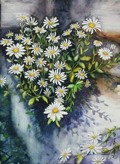 Watercolor Artists, Watercolor Techniques, Watercolor And Ink, Watercolor Flowers, Botanical Art, Daisies, Painting & Drawing, Hand Painted, Paintings