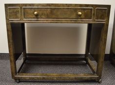 REDUCED Vintage Textured Brass & Burl Wood Tea by SterlingOrchard