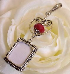 Wedding bouquet photo charm with red bead, heart and small picture frame by SmilingBlueDog