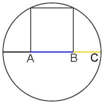 Golden Ratio in the construction of a square in a circle