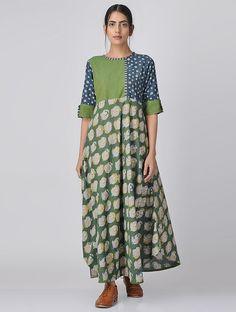 Green-Blue Block-printed Cotton Dress