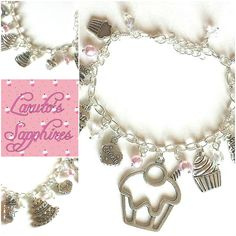 """Sweet Tooth"" Desserts Silver Plated Charm Bracelet <3 $12 <3 www.etsy.com/shop/LarutosSapphires"