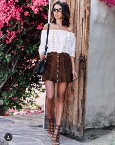 Suede button skirt and white off shoulder top