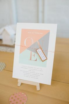 modern paper goods in the prettiest pastels Photography : Meg Cooper Photography Read More on SMP: http://www.stylemepretty.com/living/2016/03/11/modern-gold-pastel-1st-birthday-party-filled-with-diys/: