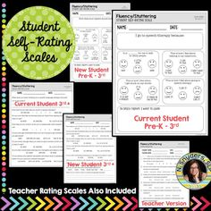 Student Self-Rating Scales for Articulation, Phonology, and Fluency Motivational Activities, Rating Scale, Annual Review, New Students, First Grade, Disorders, Self, Teacher, Professor