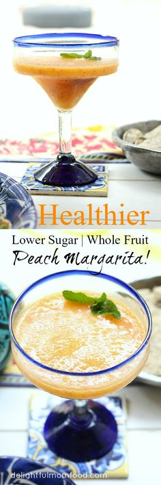 A healthier whole fruit peach margarita recipe made with frozen peaches, lime, honey and a splash of tequila! Forget the triple sec and sweeten this cocktail up with fresh wholesome fruit!