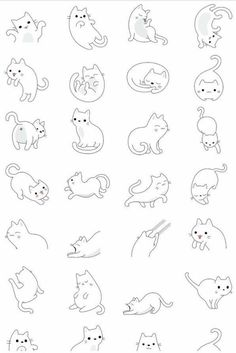 64 Trendy Drawing Animals Tips Character Design References Simple Cat Drawing, Cute Cat Drawing, Simple Cat Tattoo, Cat Drawing Tutorial, Kitty Drawing, Drawing Art, Art Mignon, Cat Tattoo Designs, Tattoo Design Drawings