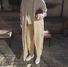 Layered Outfit Winter Coat Sweater Pants beige White