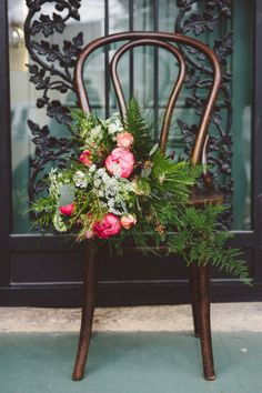 Greenery with pops of pink peonies: http://www.stylemepretty.com/wisconsin-weddings/madison-wi/2014/12/01/folk-inspired-styled-shoot-in-madison-wi-at-the-livingston-inn/ | Photography: April Violet - http://www.aprilviolet.com/