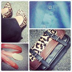 office outfit inspiration: #leopardshoes - #Target, belt - #H&M, #TheSak purses - #Nordstrom, #cobalt #blue blouse - #Forever21