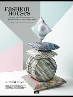 Shop Missoni Home cushions here… London Design Week, Banner, Photo Composition, Textiles, Pillow Fabric, Photography Projects, Work Inspiration, Still Life Photography, Home Textile