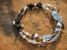 Boho Sparkle  Leather Kyanite Smoky Quartz Pearl by fleurdesignz