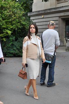 Miroslava Duma Pregnant in White and Beige