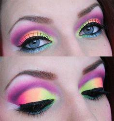 neon rave makeup for Electric Run #EyeMakeupBlue Makeup Art, Makeup Tips, Beauty Makeup, Hair Makeup, Makeup Ideas, 80s Eye Makeup, Ice Makeup, Dress Makeup, Makeup Tutorials