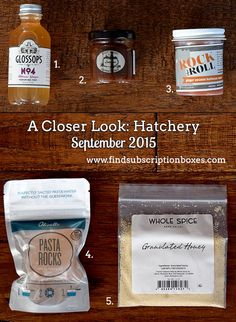 The September 2015 Hatchery Tasting Box introduced us to many small-batch products and flavors we haven't tried before. Read our full Hatchery September 2015 Tasting Box Review - http://www.findsubscriptionboxes.com/a-closer-look/hatchery-tasting-box-review-september-2015/