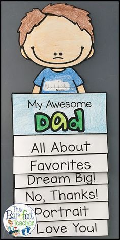 This Father's Day Flip Book Craftivity is fun, easy, and will go right along with the other cards, gifts ideas, and crafts that you have planned for your kids . Diy Father's Day Gifts, Father's Day Diy, Easy Gifts, Father's Day Activities, Holiday Activities, Children Activities, Spring Activities, Kindergarten Crafts, Preschool Ideas