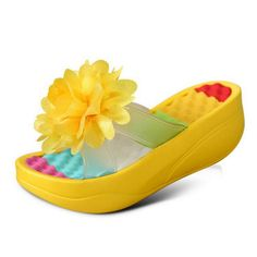 2017 Summer women's paltform slippers beach  swing shoes wedges at home flower outdoor slippers casual sweet sandals big size
