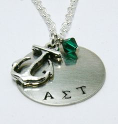 Alpha Sigma Tau Sorority Necklace Silver Anchor by PureImpressions, $19.99